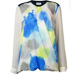NWT DKNYC WOMENS WRAP STYLE HI LOW BLOUSE TOP S
